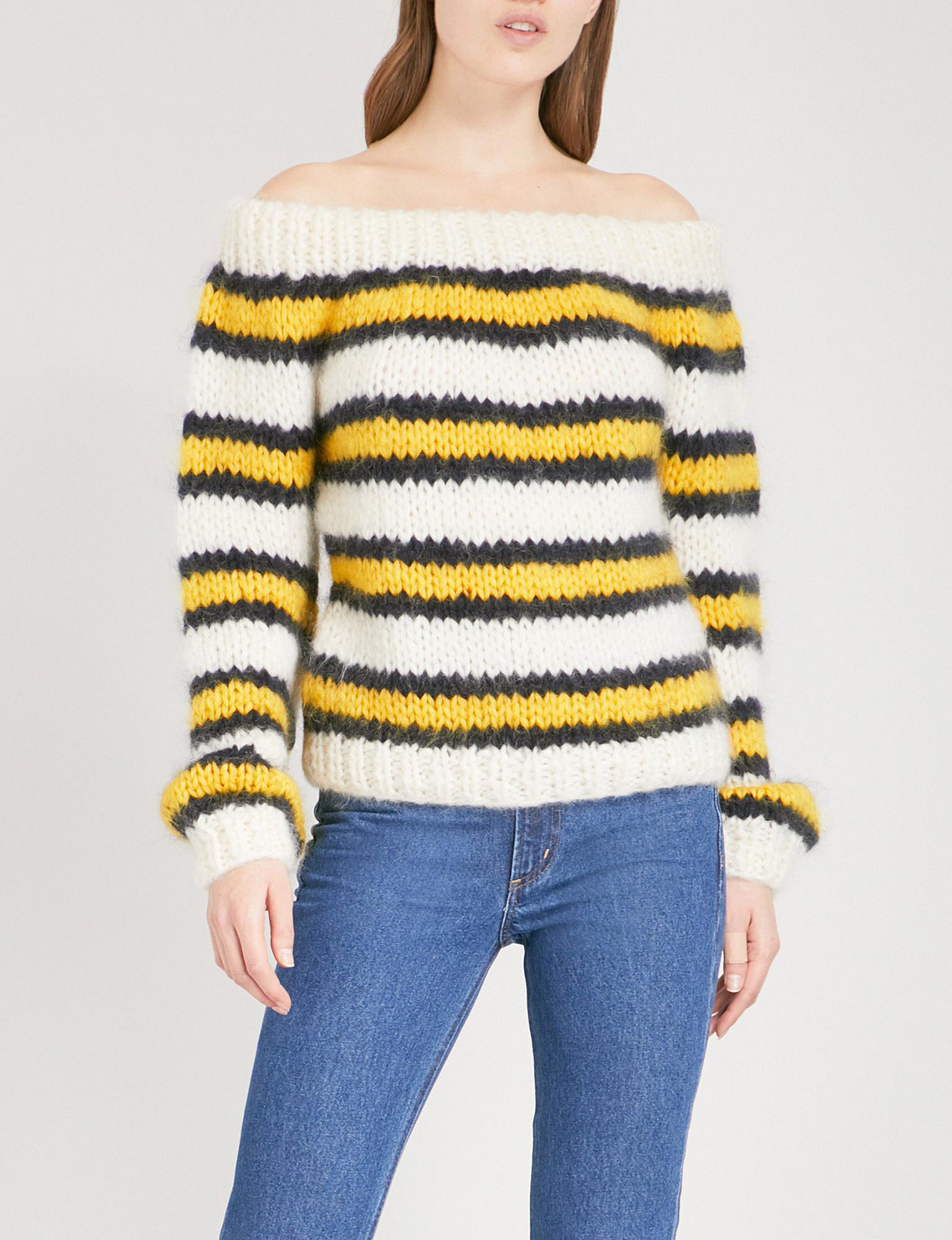 de0349c1a13 Ganni Julliard Striped Wool And Mohair-blend Jumper in Yellow - Lyst