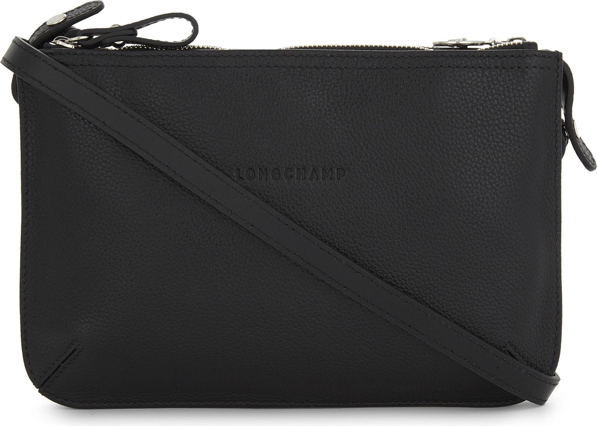 3f9bda2fddde Longchamp - Black Le Foulonne Grained Leather Cross-body Bag - Lyst. View  fullscreen