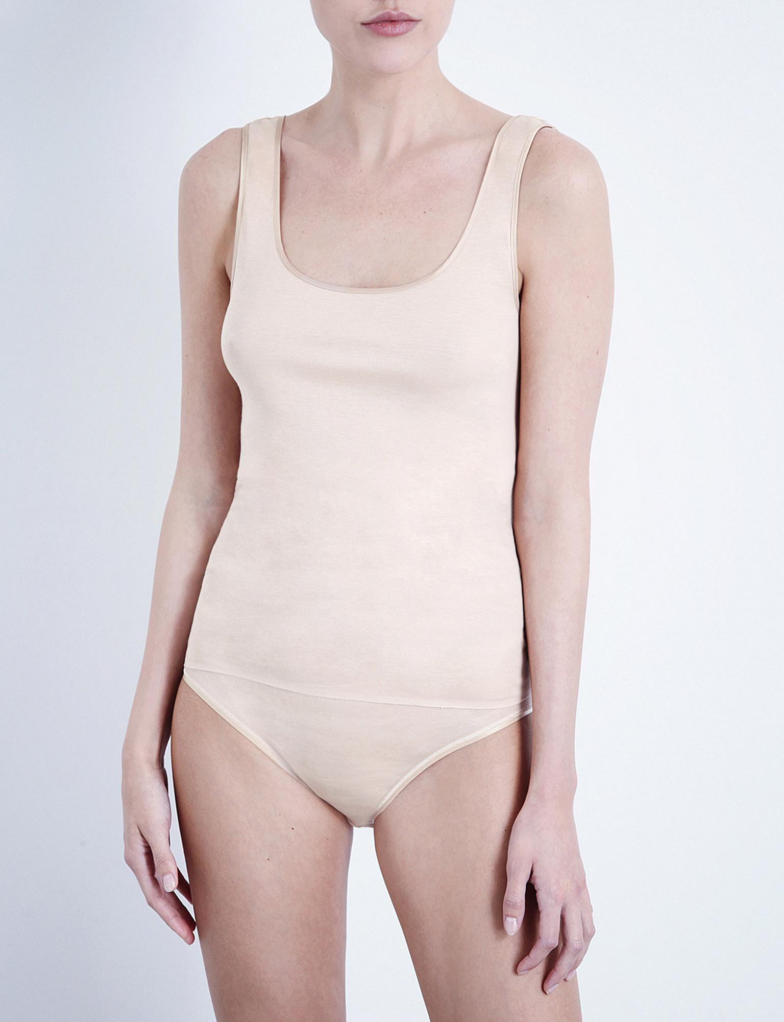 be225a87ae6ed Hanro Seamless Cotton Vest Top in White - Lyst