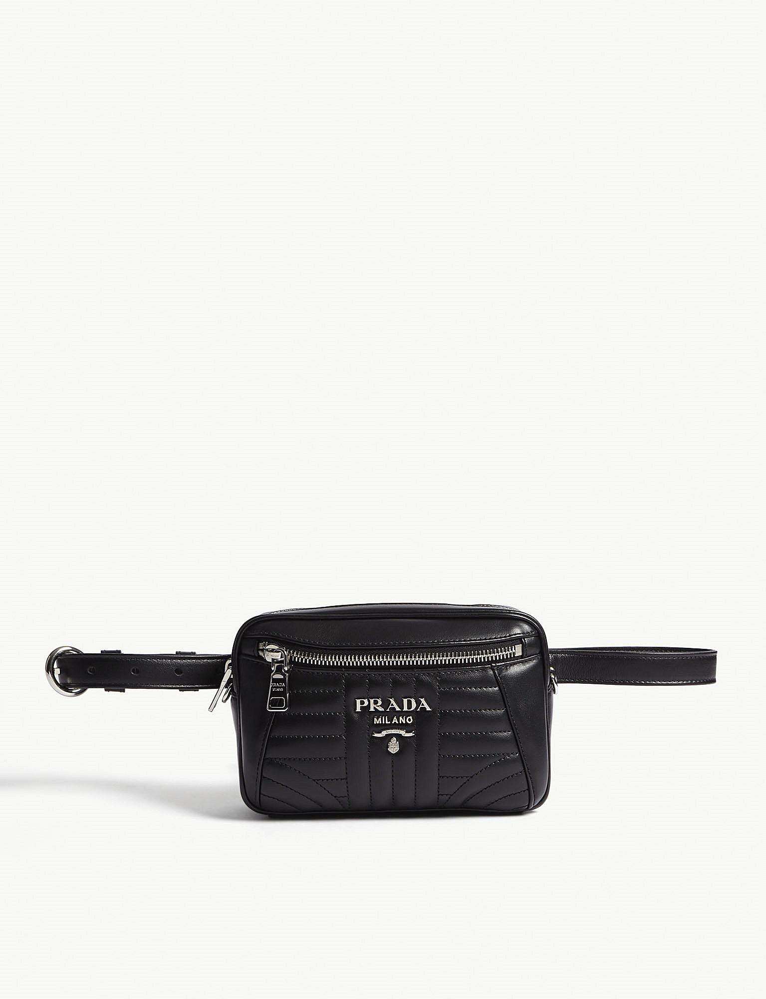 485b25c1d703 Lyst - Prada Small Quilted Leather Belt Bag in Black