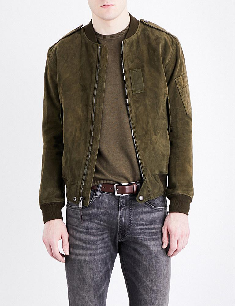 Lyst Polo Ralph Lauren Suede Bomber Jacket In Green For Men