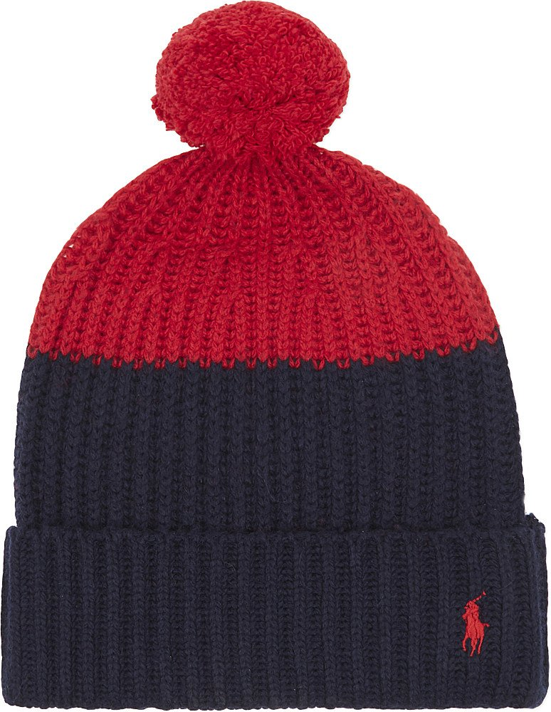 aadce447511 Lyst - Polo Ralph Lauren Colour Block Knitted Bobble Hat in Red