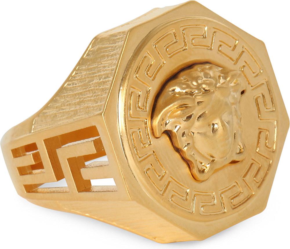 Versace Medusa Greca Gold plated Ring in Metallic for Men