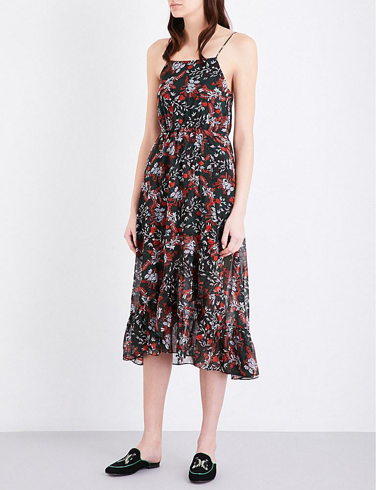 83e29ddd3175 Maje Revia Floral-print Crepe Midi Dress in Black - Lyst