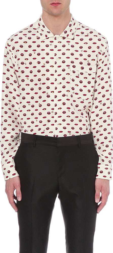 Lyst Bally Lip Print Silk Shirt For Men