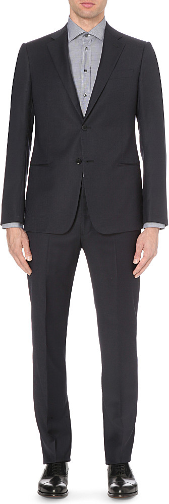 Armani tailored fit diamond pattern wool suit in black for for Tailored fit shirts meaning