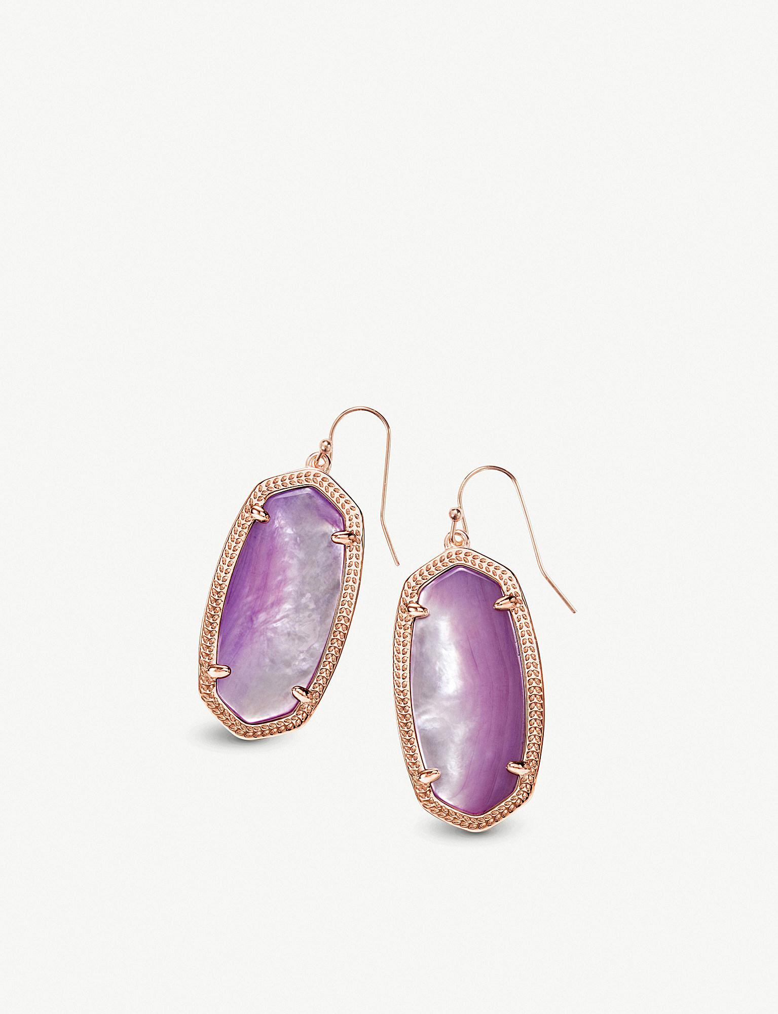 98ad2a40b Kendra Scott. Women's Elle 14ct Rose Gold-plated And Lilac Mother-of-pearl  Earrings