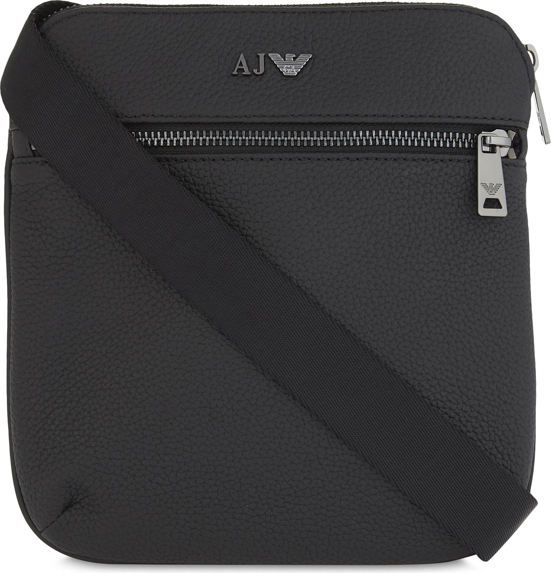 c63a146f872 Armani Jeans Grained-leather Messenger Bag in Black for Men - Lyst