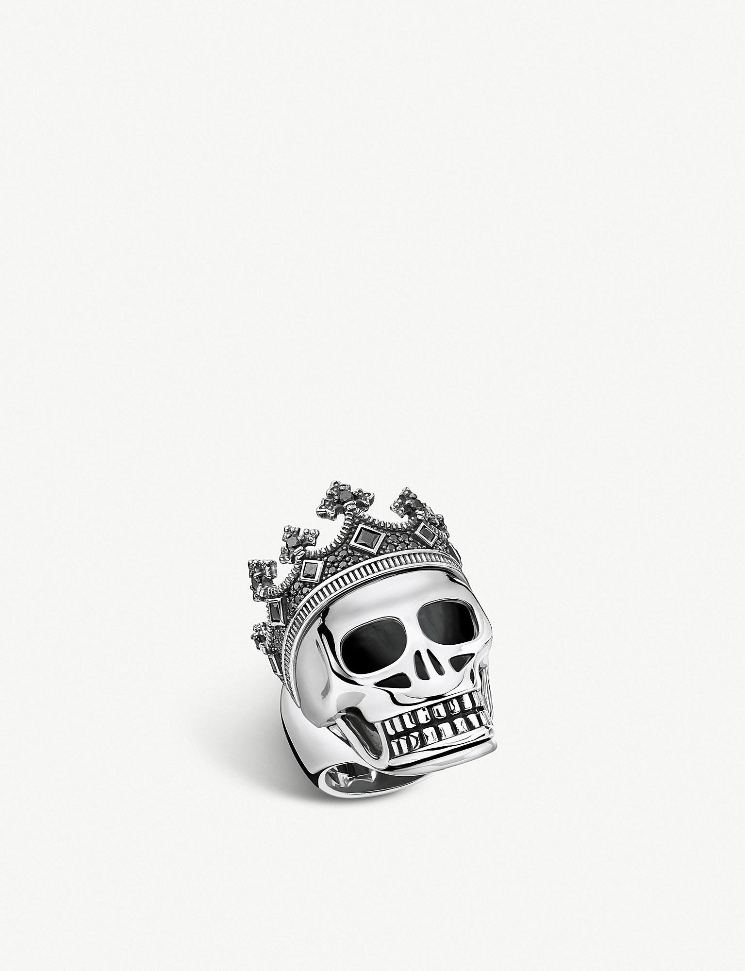 2189509bbb27 Thomas Sabo Rebel Kingdom Skull Crown Silver Ring in Metallic for ...
