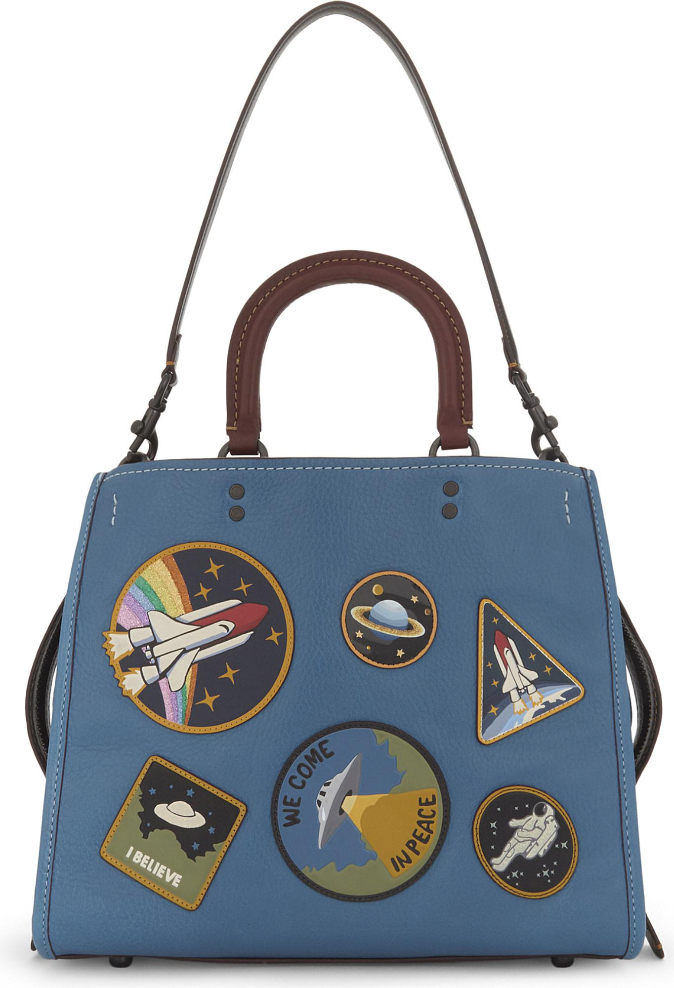 0a4fbc720da Coach Rogue Space Patches Leather Tote in Blue - Lyst