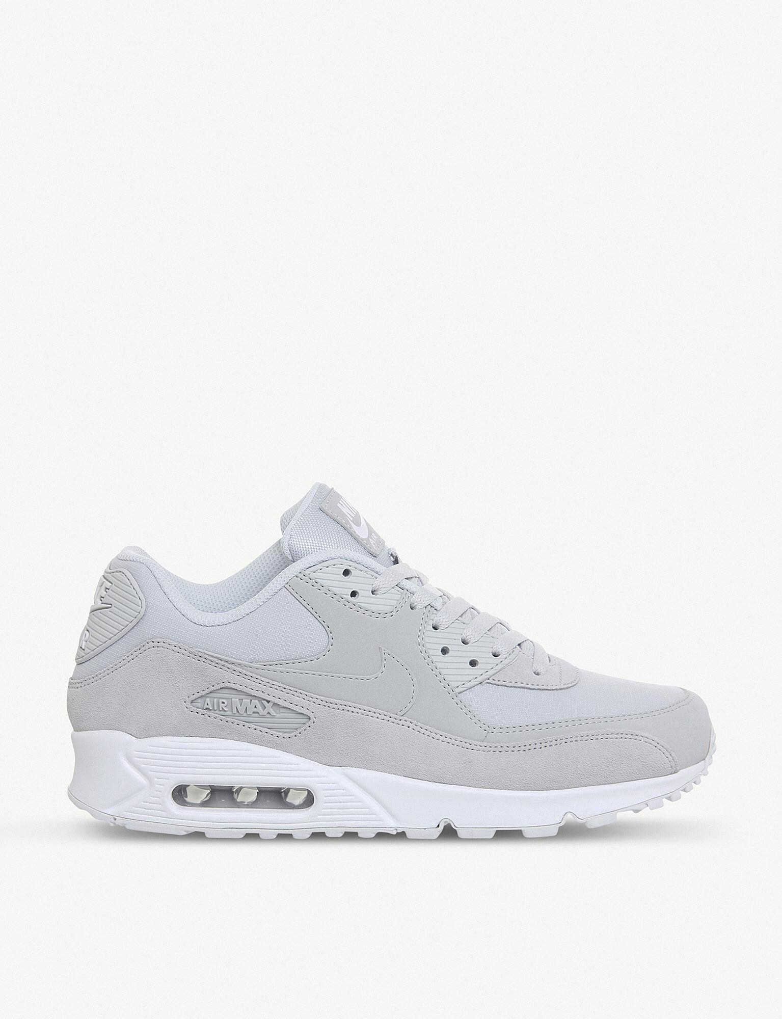 775ac16224 ... new zealand nike. mens white air max 90 mixed leather trainers 46776  fa443