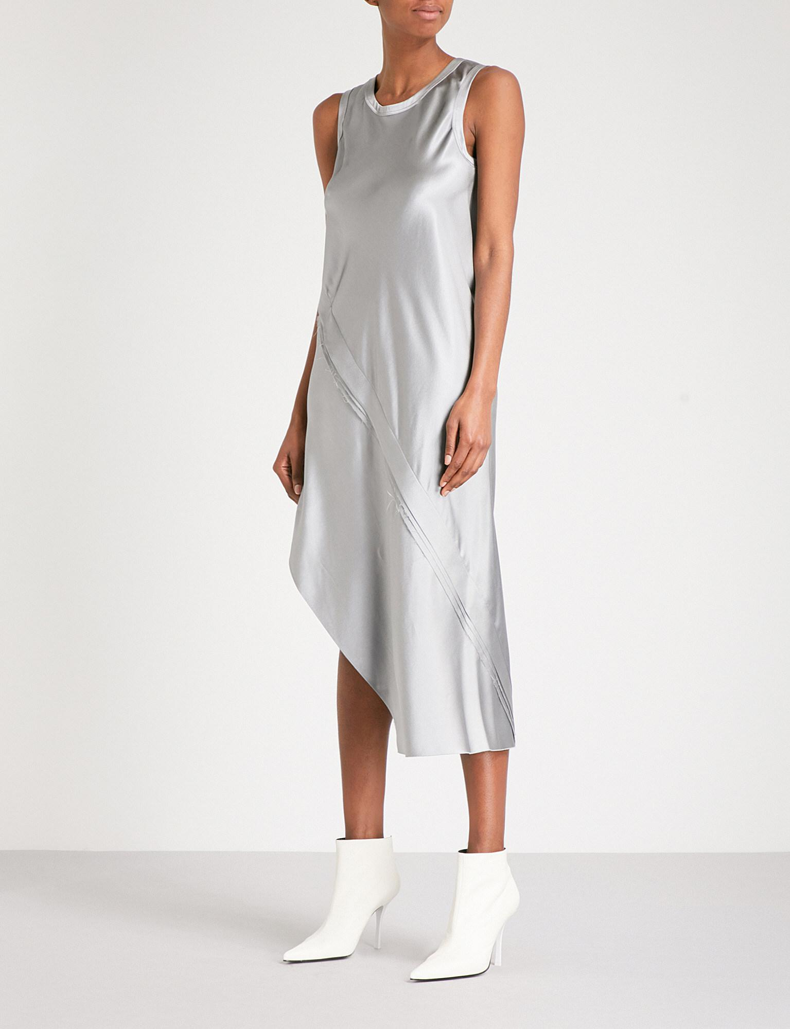 e16a0705cb3f Lyst - Helmut Lang Metallic Silk Midi Dress in Gray