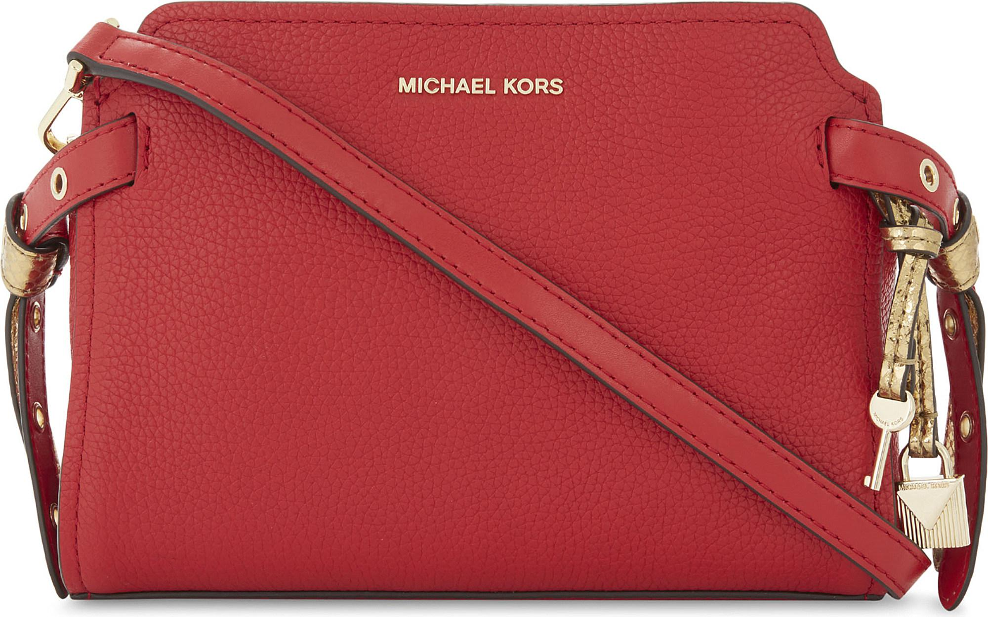 7229c64daf813 wholesale lyst michael michael kors bristol leather messenger bag in red  b58fd e8926