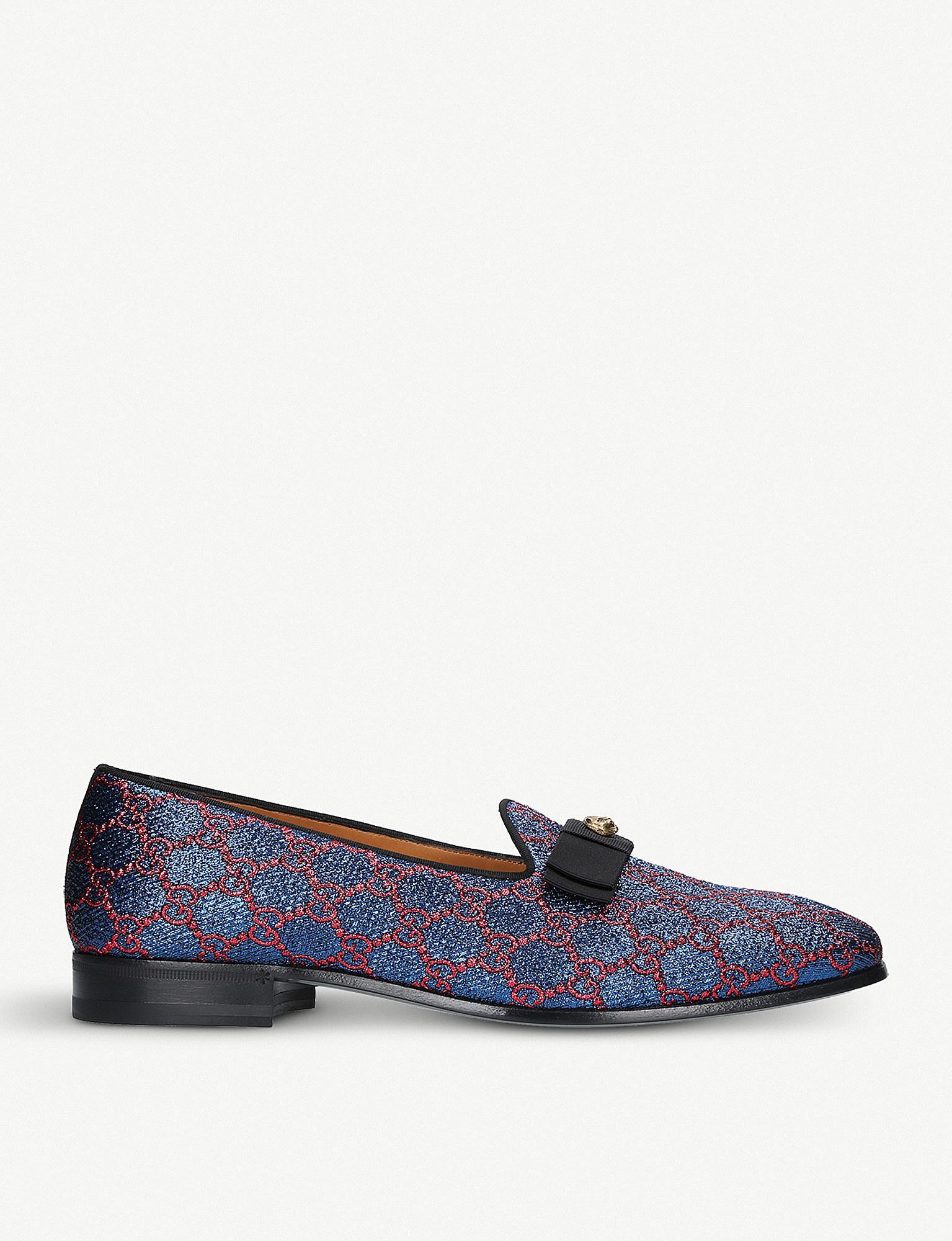f1584cdba01 Gucci Metallic Jacquard Gg Loafers in Blue - Lyst