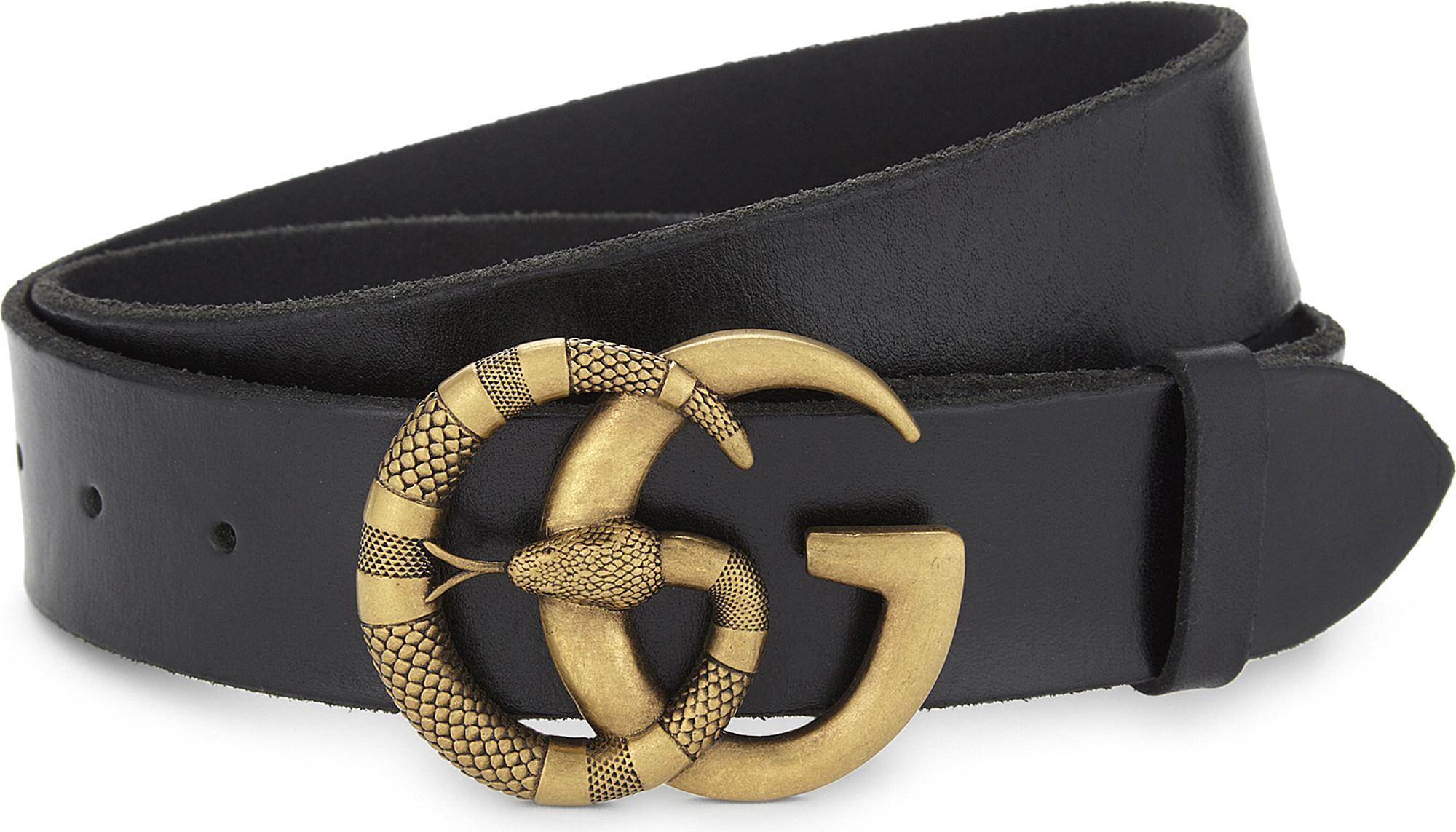 31c58d33f30 Lyst - Gucci Snake Gg Buckle Leather Belt in Black for Men