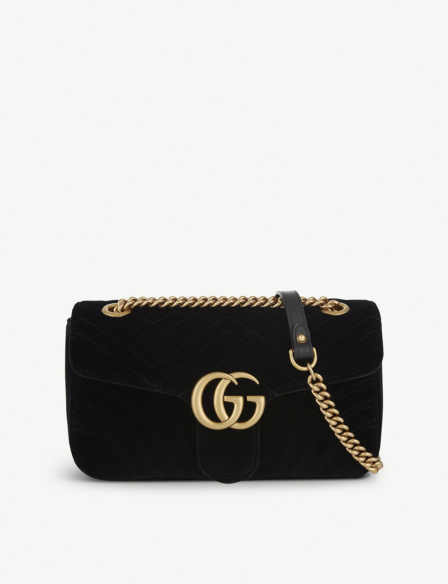 Lyst - Gucci GG Marmont Small Velvet Shoulder Bag in Black - Save 25% 68b7bb8299227