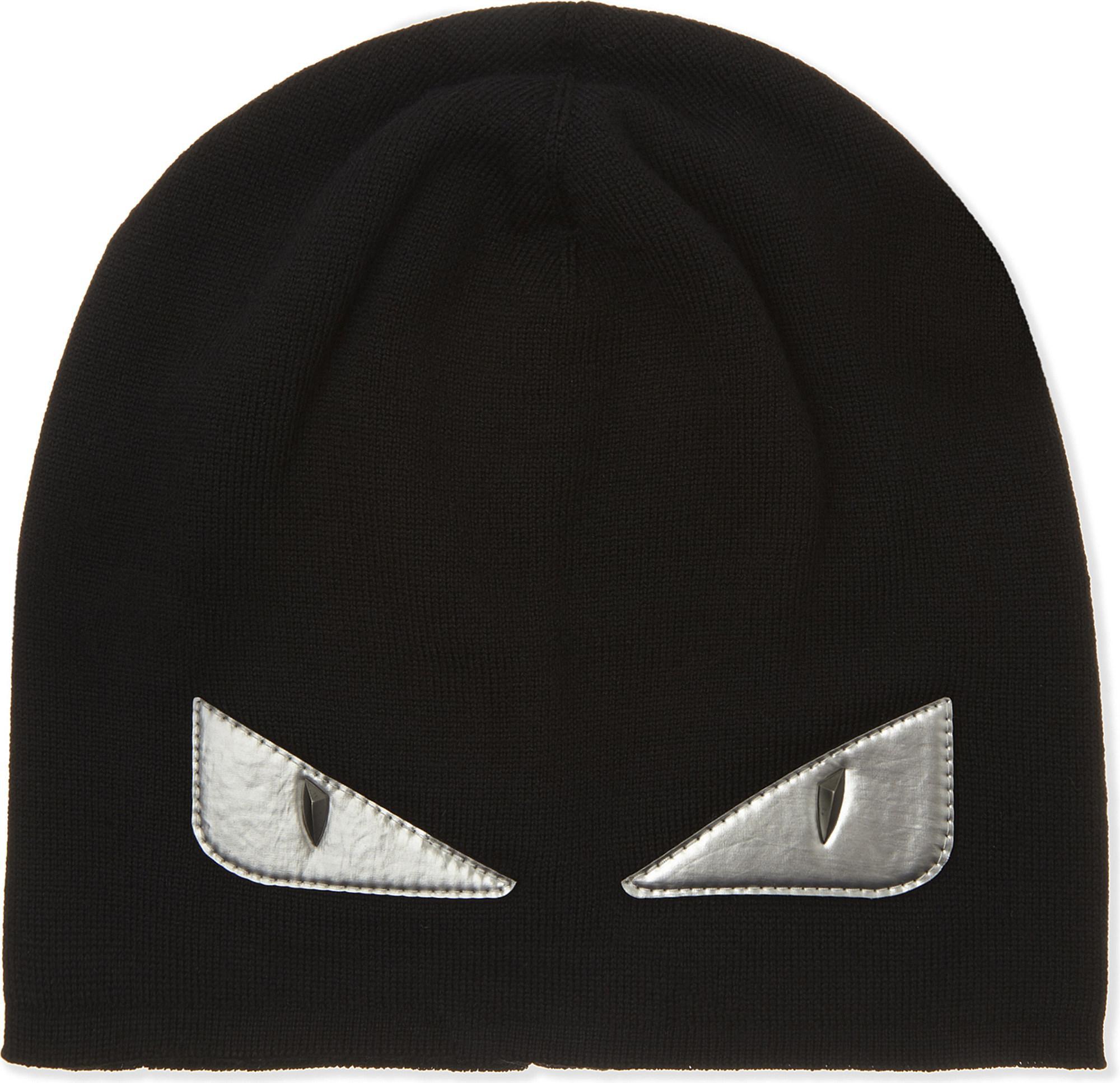 95404ce36f85f6 Fendi Monster Eyes Hat in Black for Men - Lyst