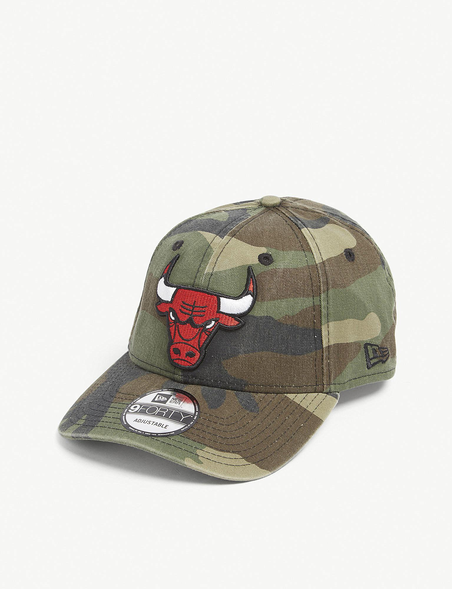 KTZ. Men s Green 9forty Chicago Bulls Washed Camouflage Cotton Strapback Cap c28e3e588cac