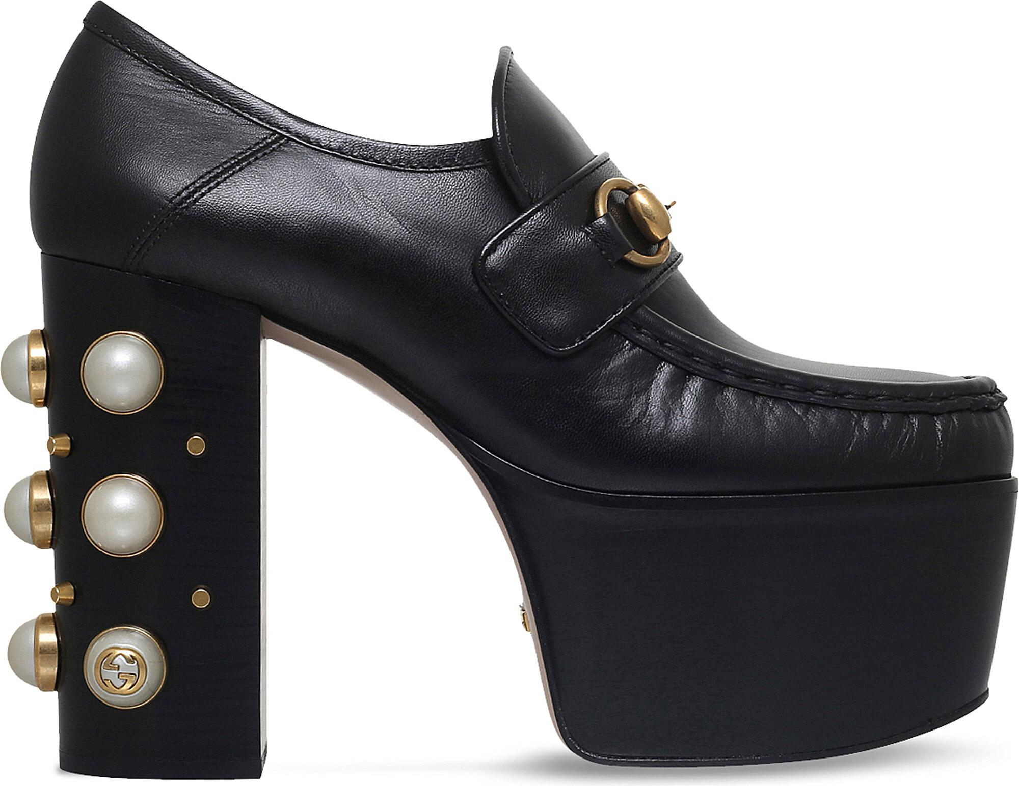 fff0638c2a8 Gucci Vegas Horsebit Platform Loafer in Black - Lyst