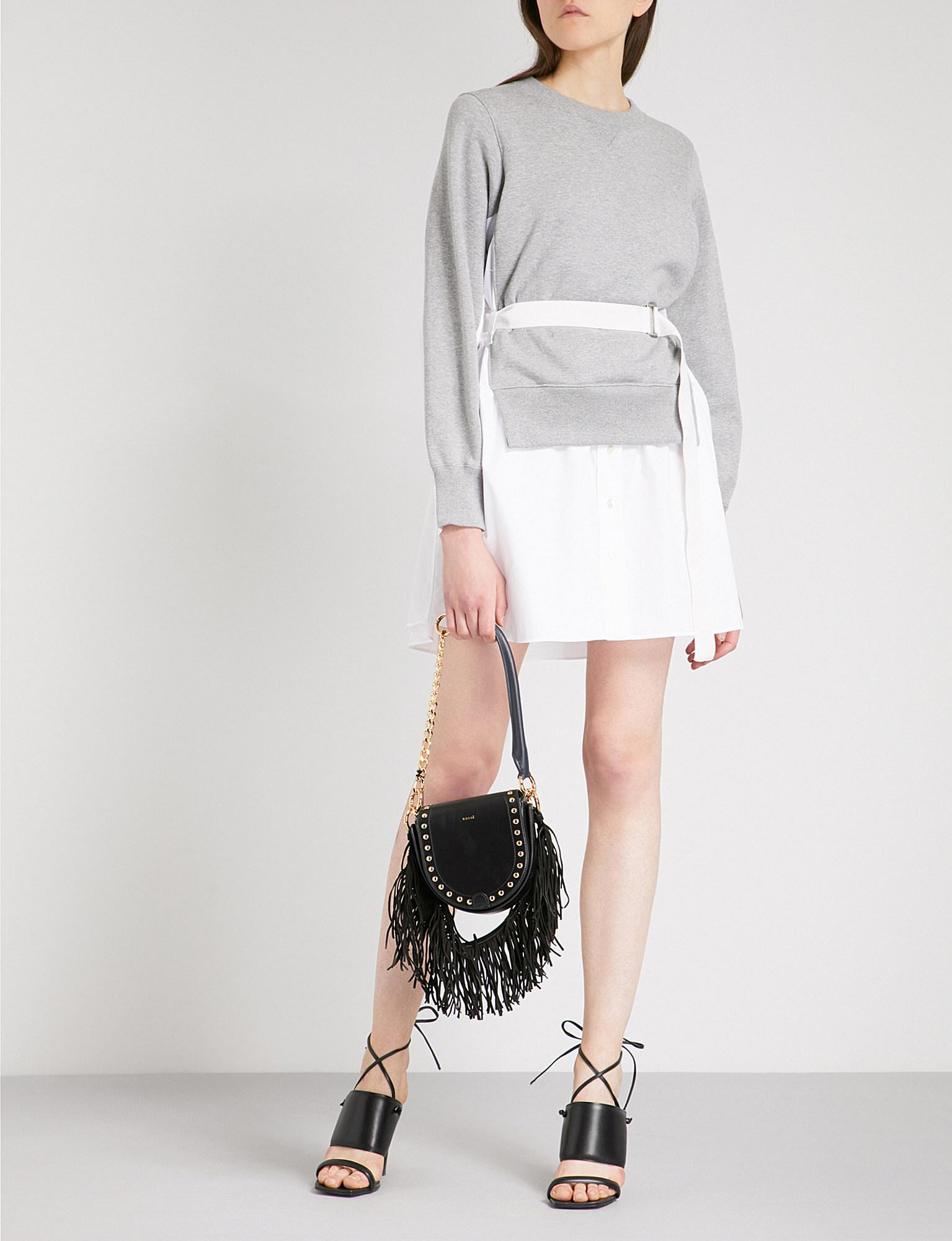 White Panelled Short Dress sacai qyrHs