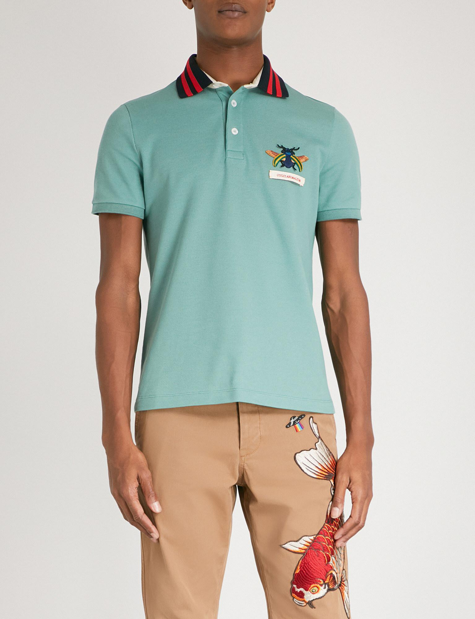 b09835838f3 Lyst - Gucci Animalium Stretch-cotton Polo Shirt in Green for Men