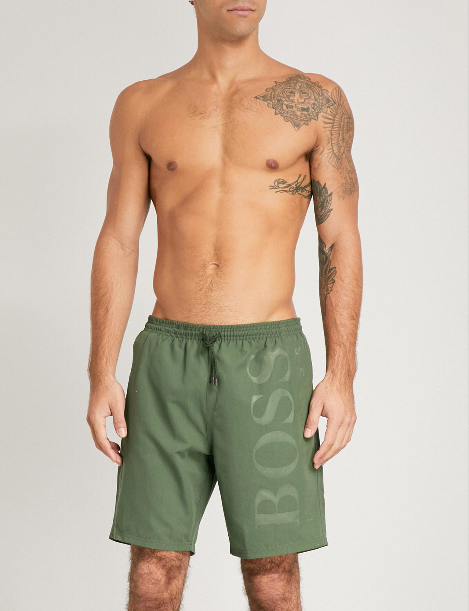 6b20960567 BOSS Orca Logo Swim Shorts in Green for Men - Lyst