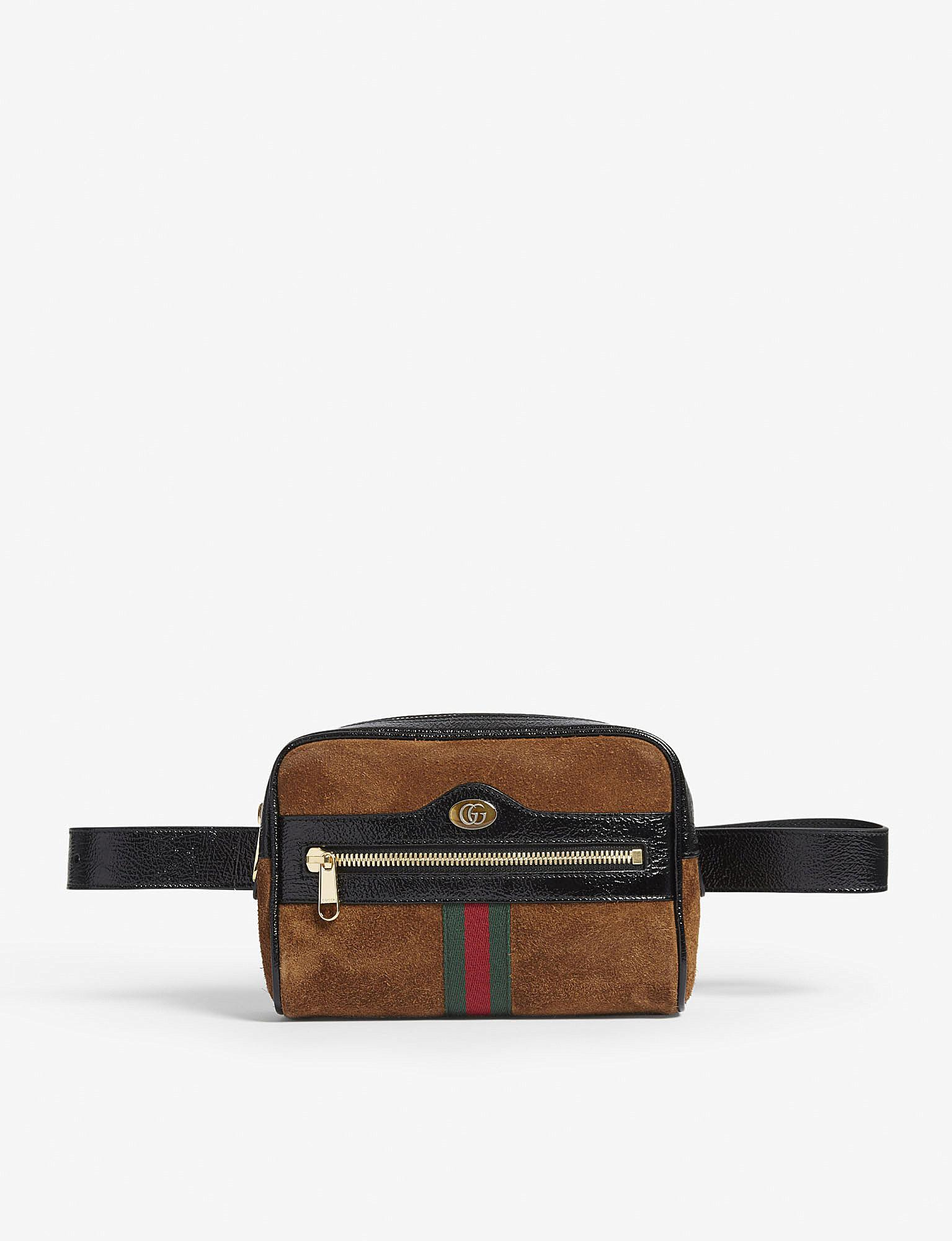 2bcbf95f790 Gucci Ophidia Suede Belt Bag in Brown for Men - Lyst