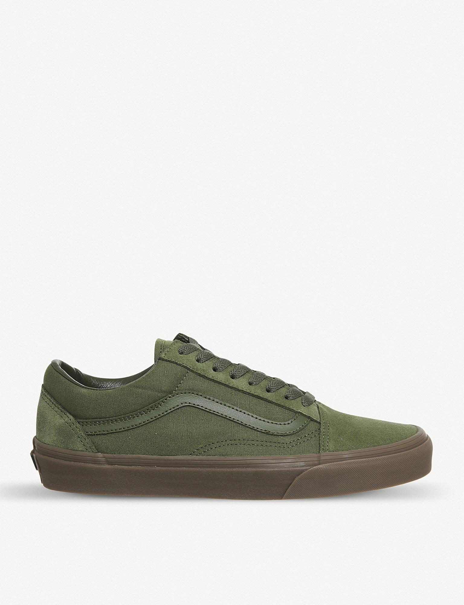 46d64578557 Lyst - Vans Old Skool Canvas And Suede Trainers in Green for Men