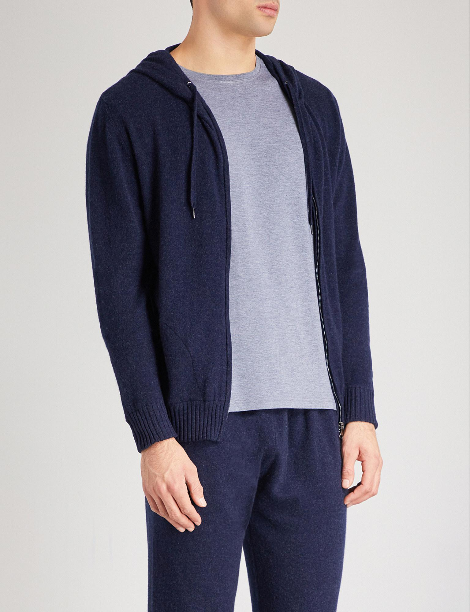 Derek Rose. Men's Blue Finley Cashmere Hoody