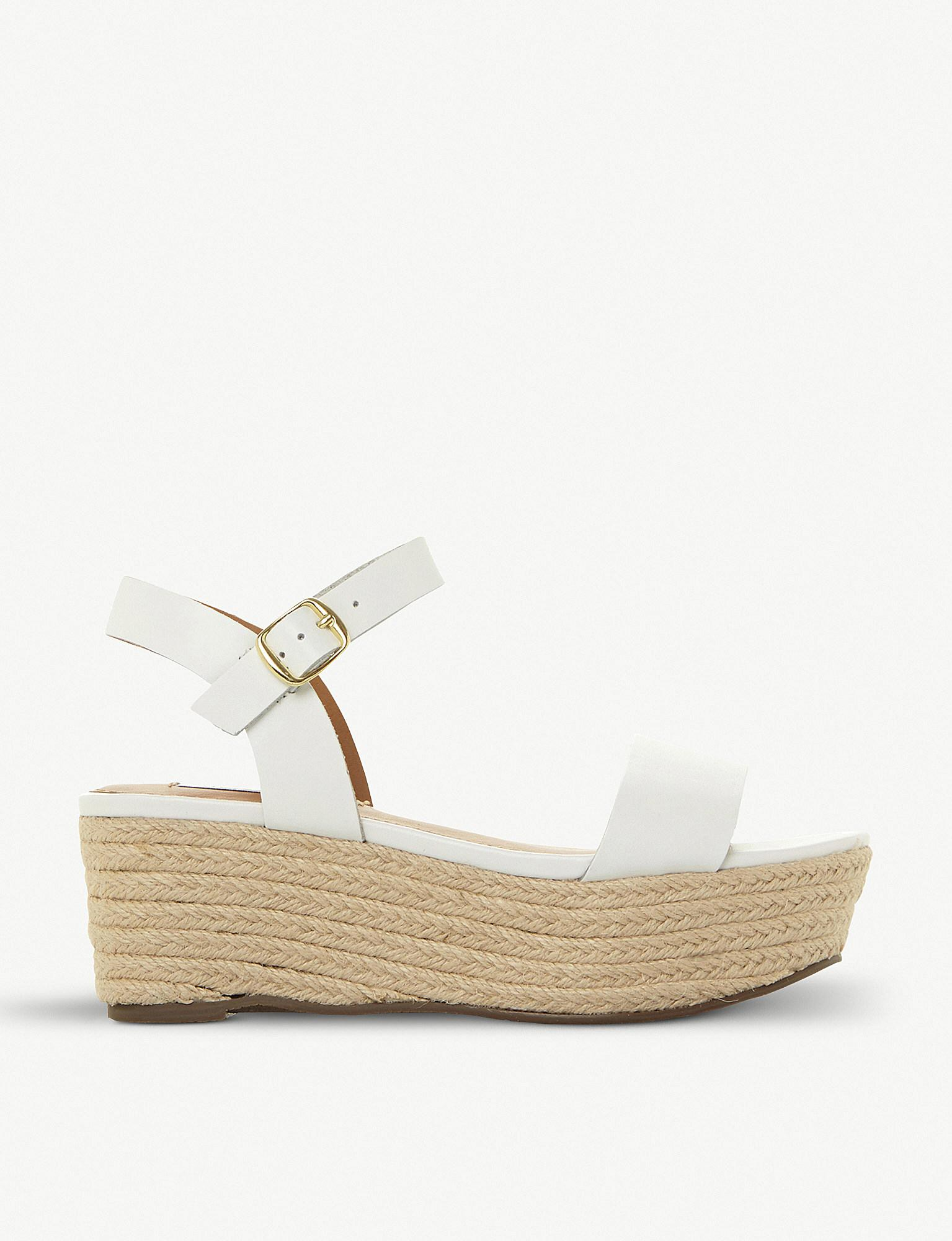 dc177f937ad Steve Madden Busy Sm Leather And Jute Platform Sandals in White - Lyst