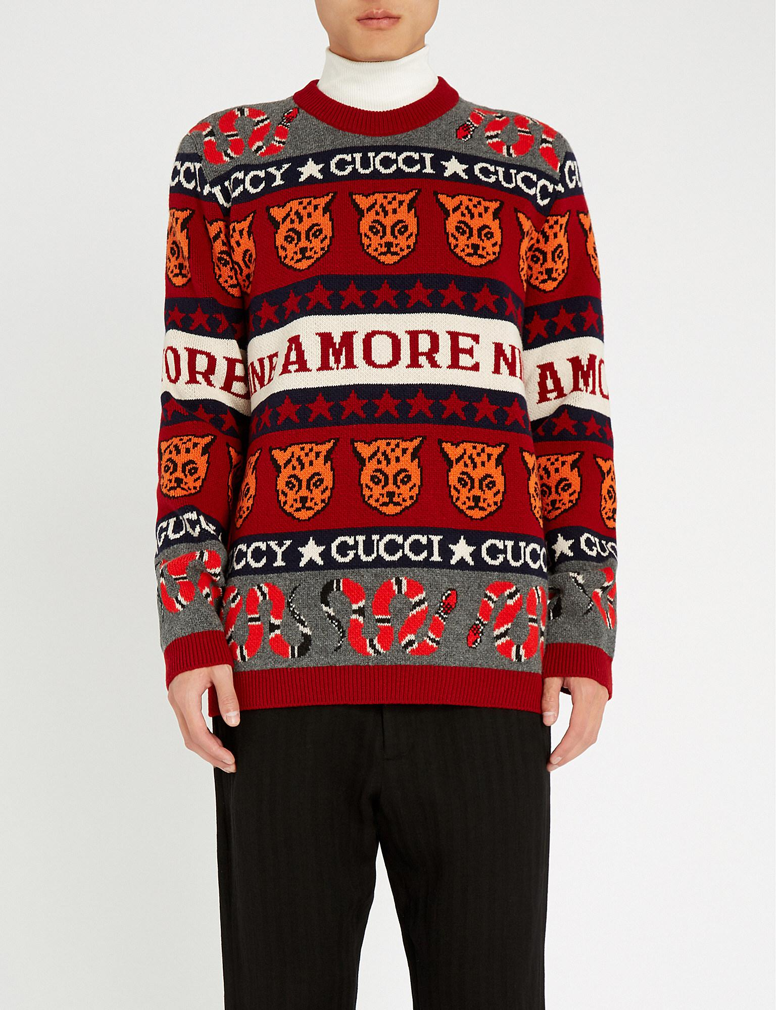 b3ae3acaa8d76 Lyst - Gucci Symbol Jacquard Jumper in Red for Men - Save 35%