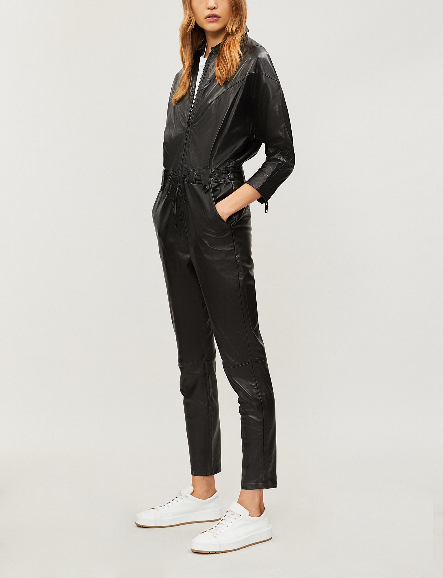 9e5184d10f The Kooples Straight-leg Leather Jumpsuit in Black - Lyst