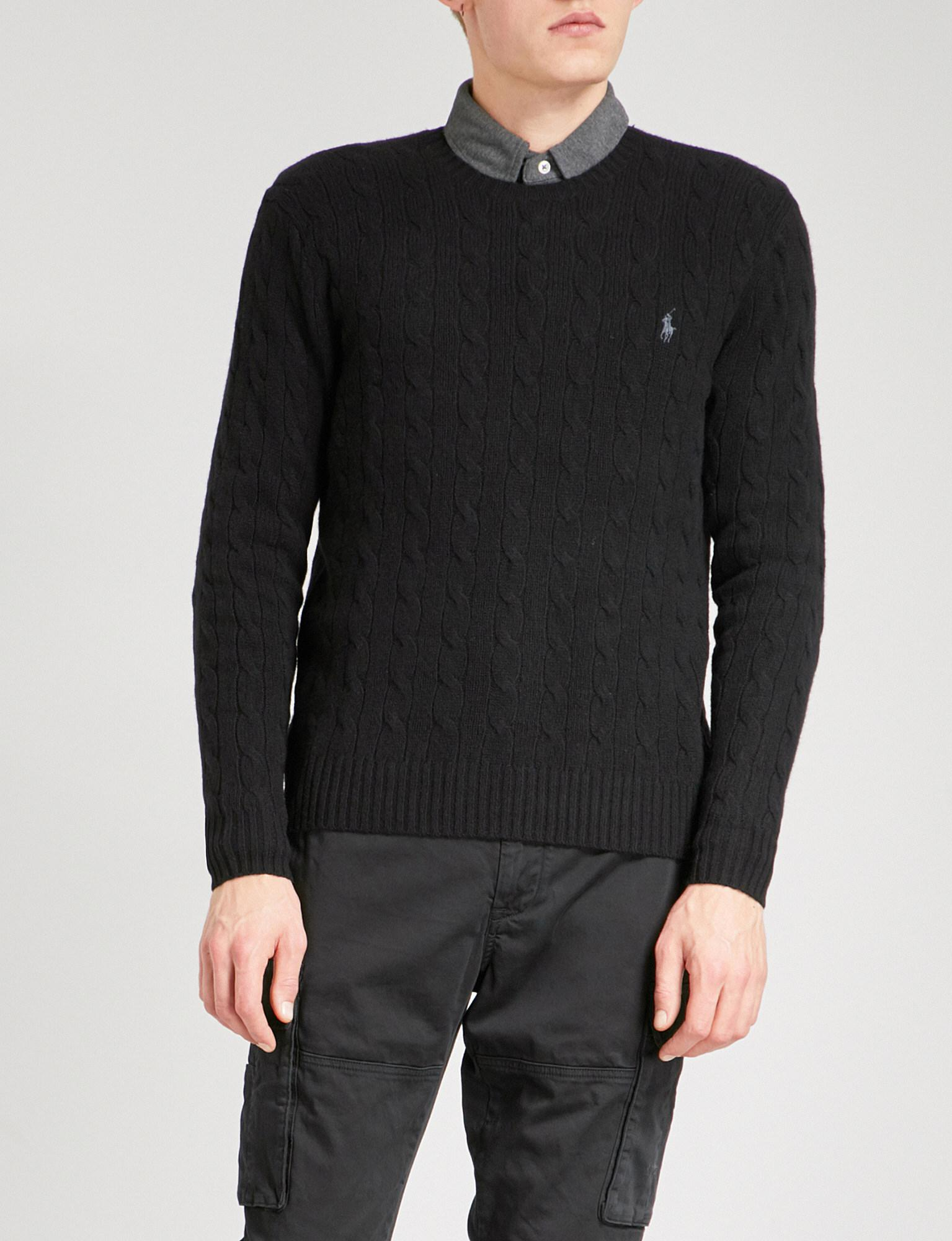 Polo Ralph Lauren. Men's Black Logo-embroidered Cable-knit Wool And  Cashmere-blend Jumper