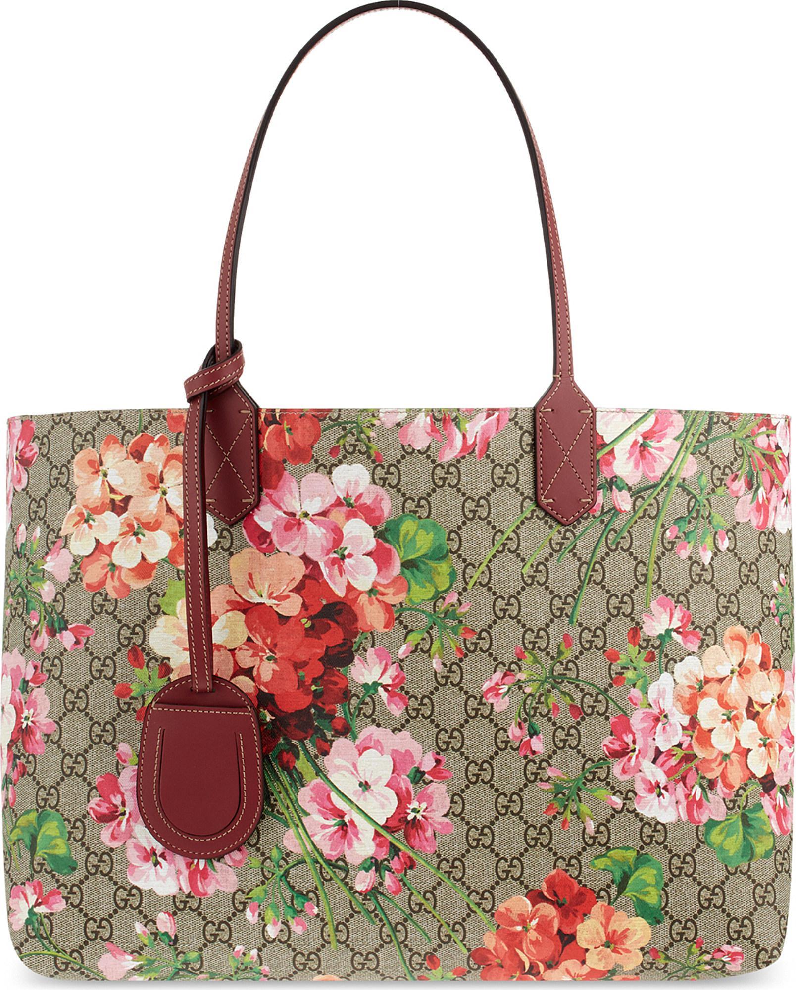 e4a067f39c34 Gucci Reversible Floral Logo Leather Shopper Bag - Lyst