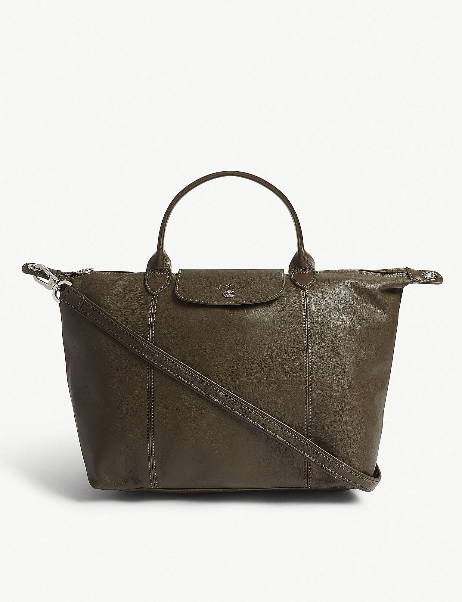 Longchamp Khaki Green Le Pliage Leather Shoulder Bag - Lyst 1abf6e8c51470