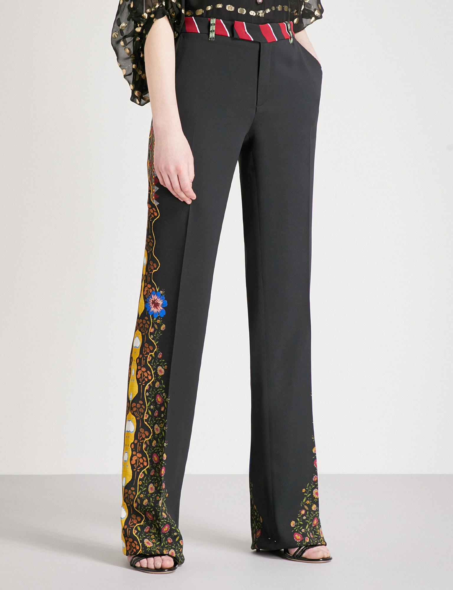 printed wide leg trousers - Black Etro