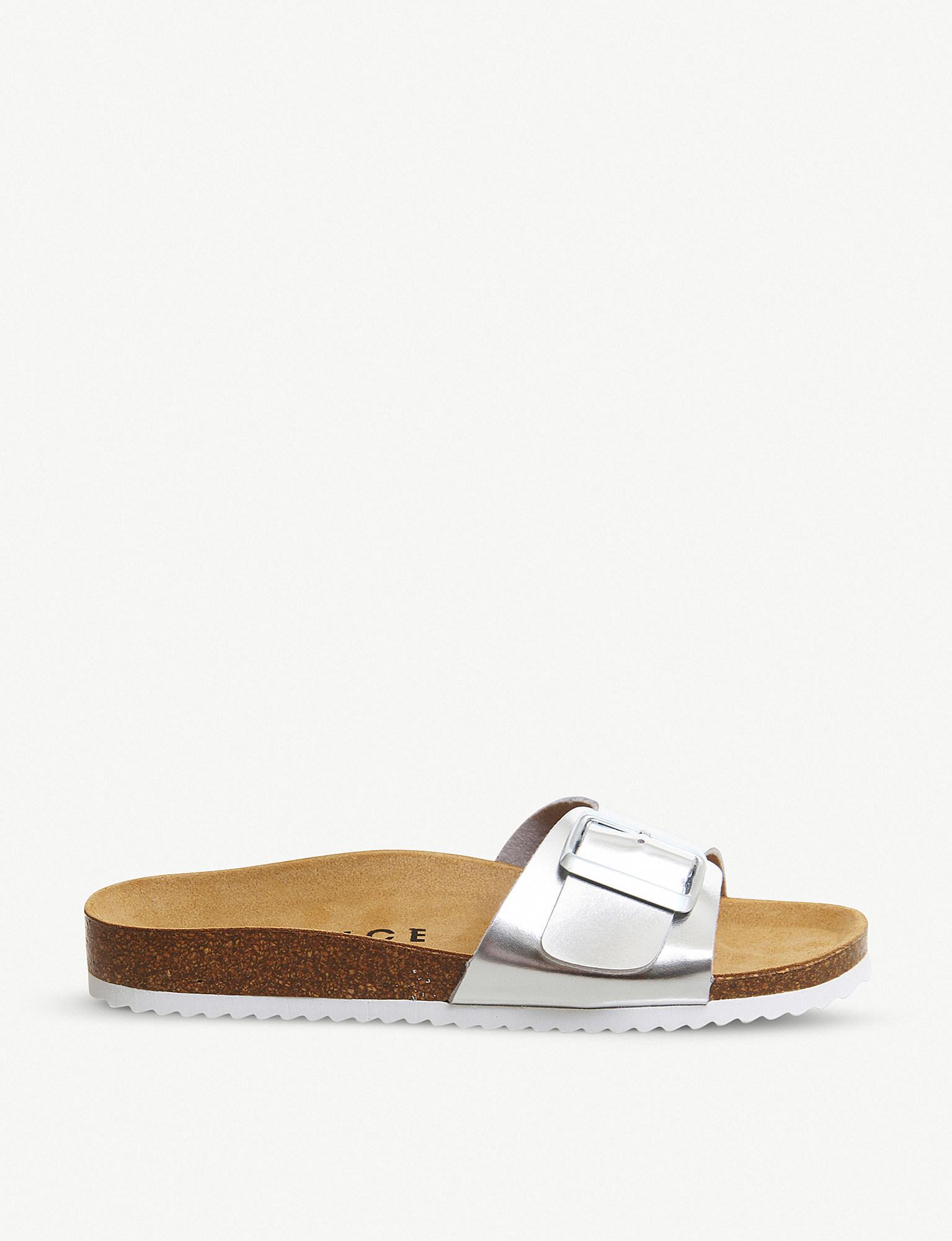 86856fd0cd8d Office Sleek Big Buckle Footbed Metallic Sandals in Metallic - Lyst