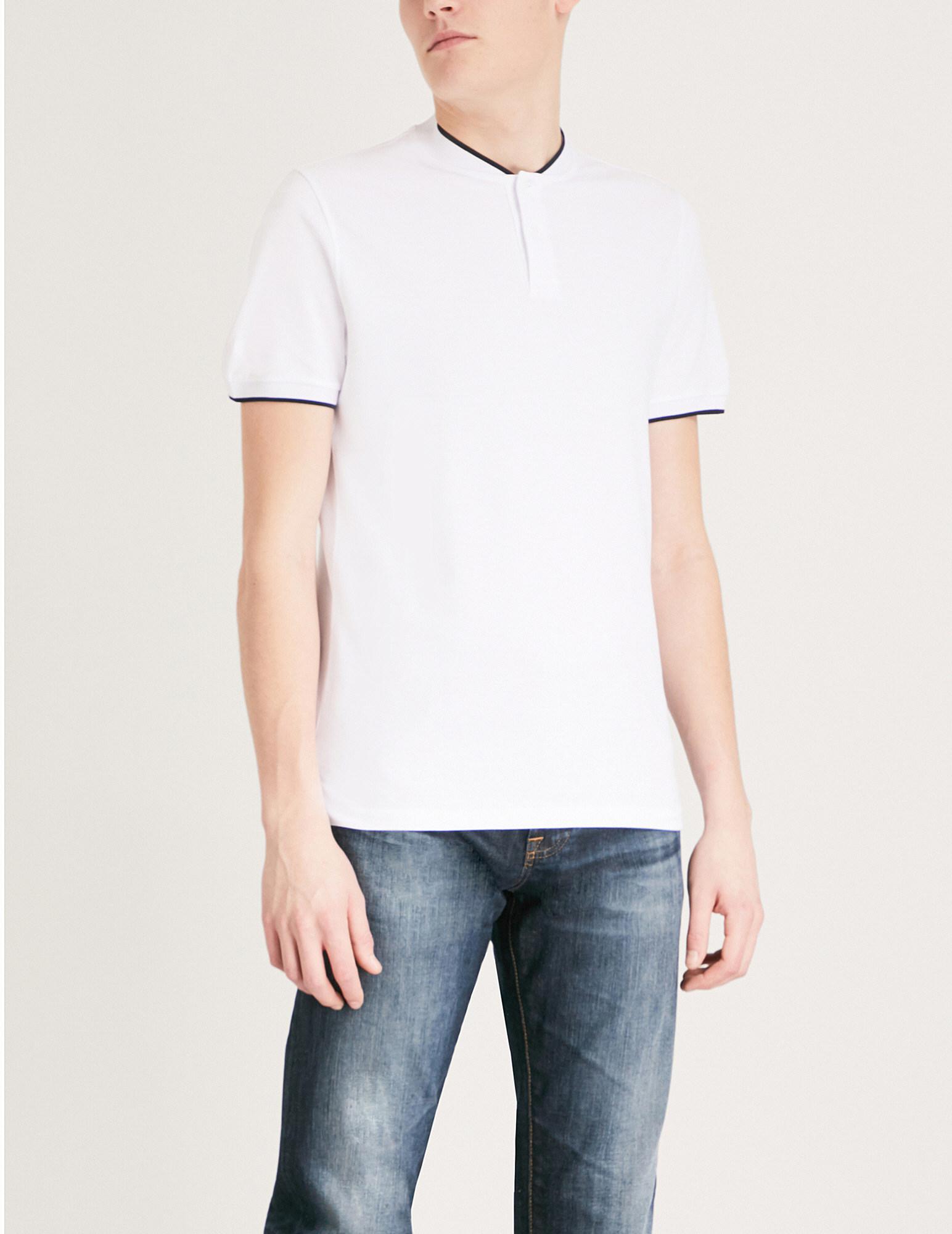 80d1e5b1c Men's White Contrast-trim Cotton T-shirt