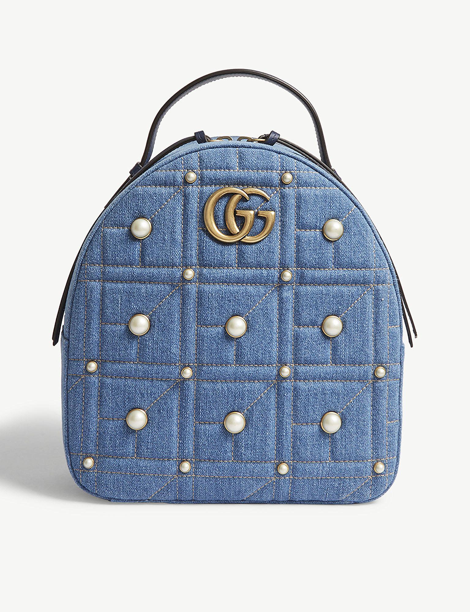 fc9cdd8317b Lyst - Gucci Gg Marmont Denim Backpack in Blue