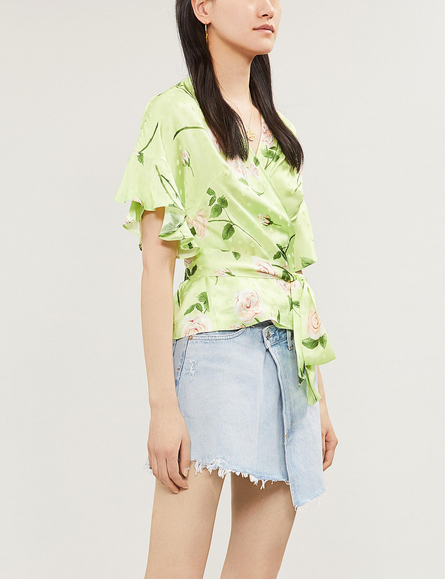 a18853869e9c24 Lyst - Kitri Alexis Flared-cuff Floral-print Satin Wrap Top in Green