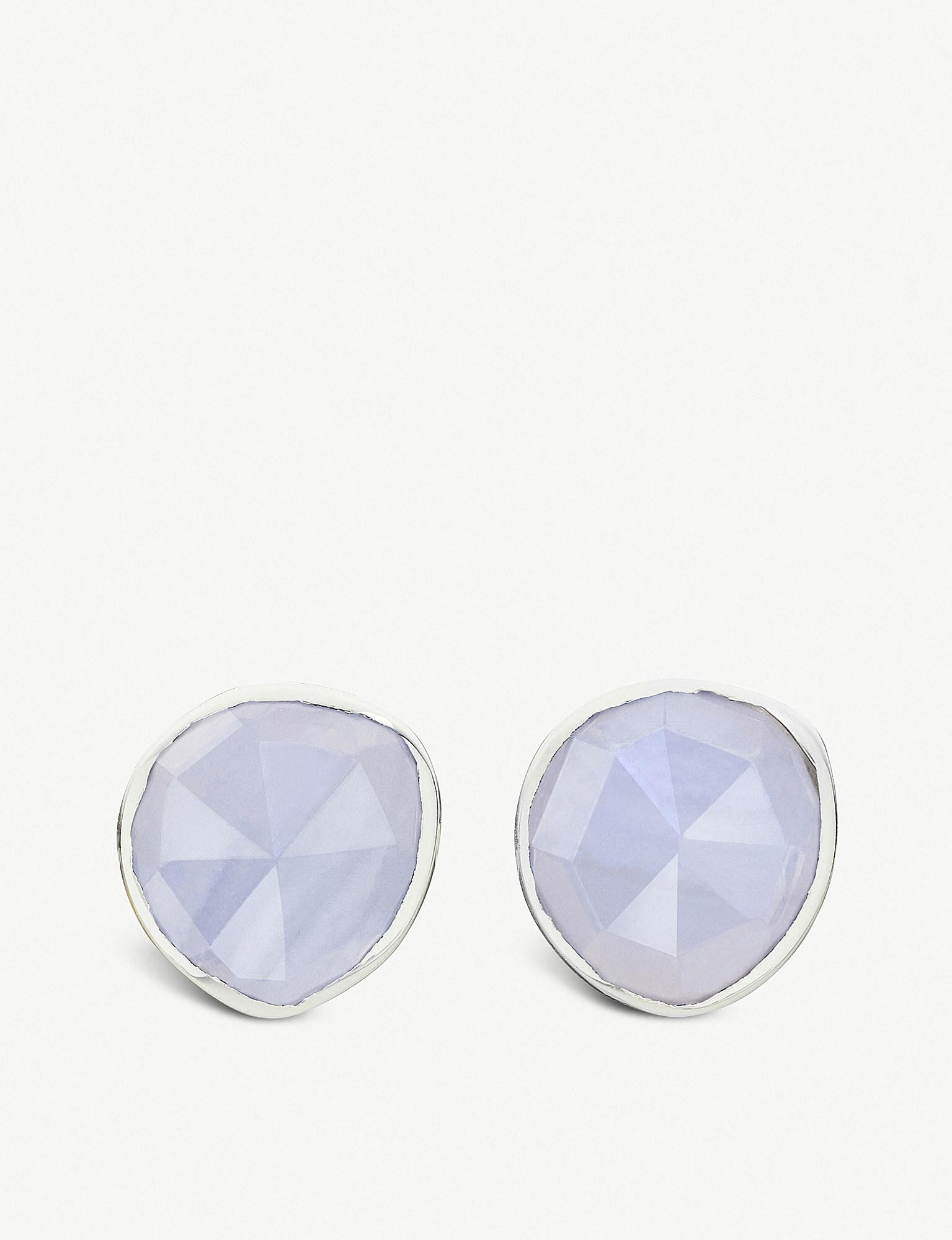 Sterling Silver Siren Stud Earrings Blue Lace Agate Monica Vinader tXgG9RC