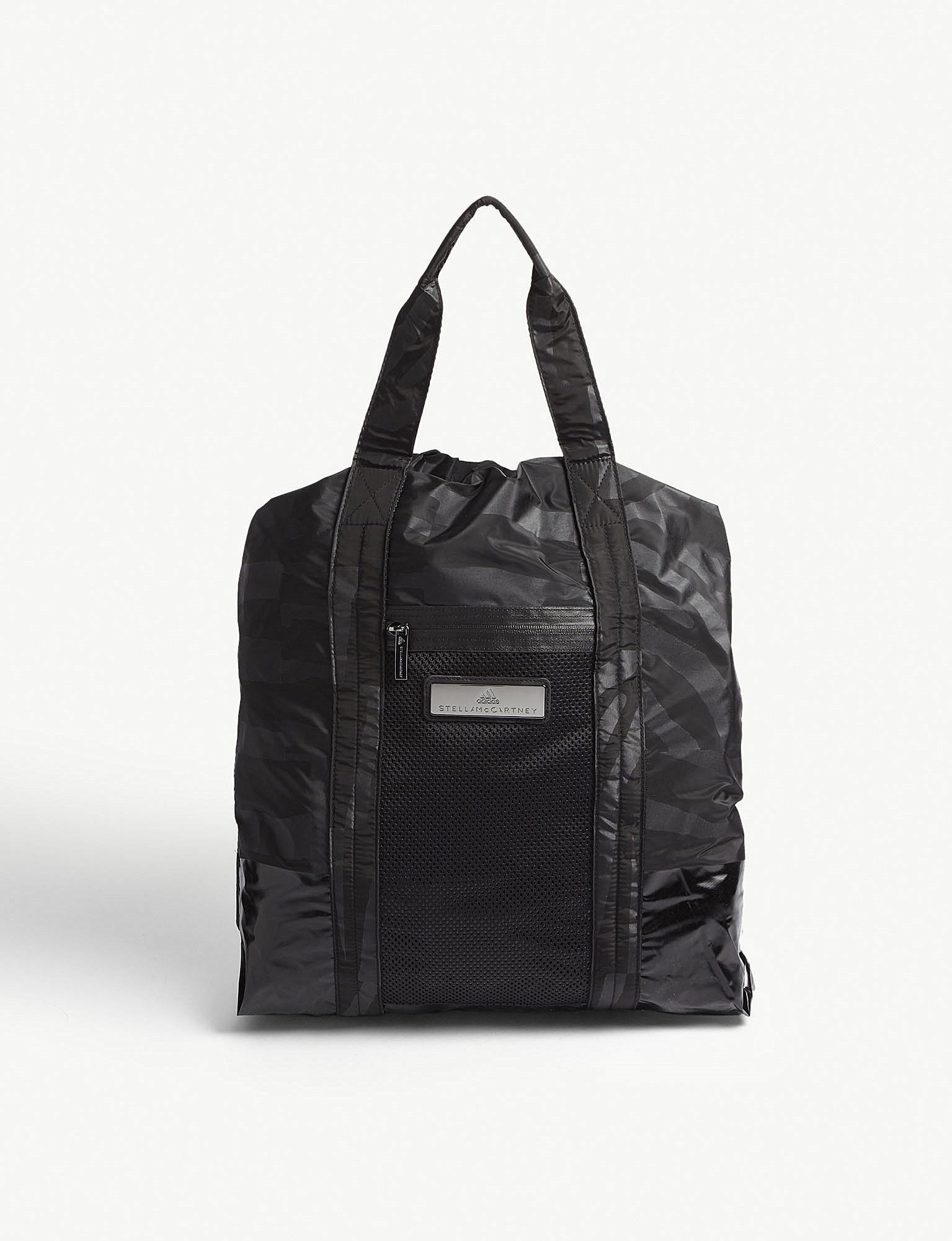 93c6e8a8cd Lyst - adidas By Stella McCartney Zebra Striped Nylon Gym Bag in Black