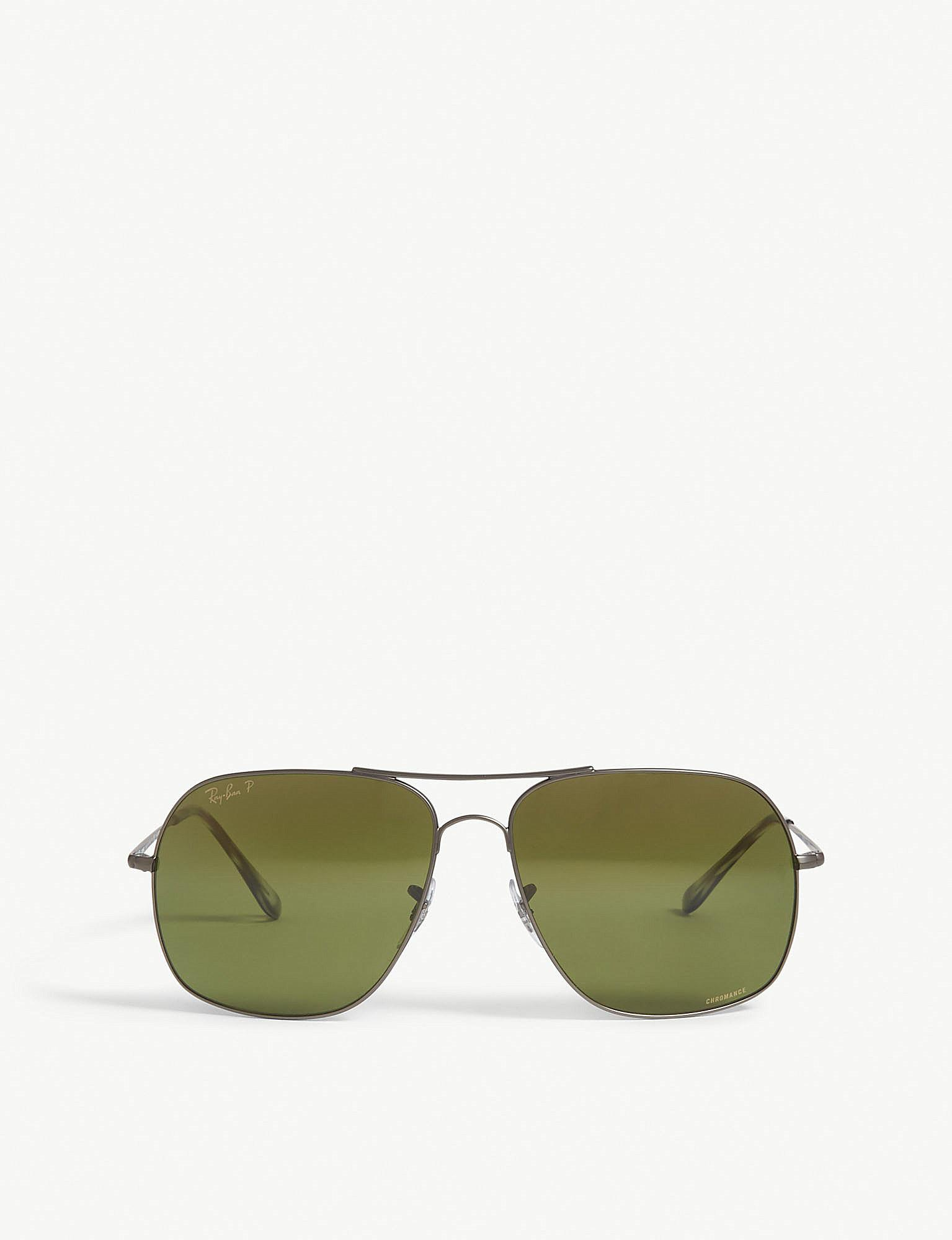 8c2c00c9ce8 Lyst - Ray-Ban Rb3587 Chromance Square-frame Sunglasses in Green