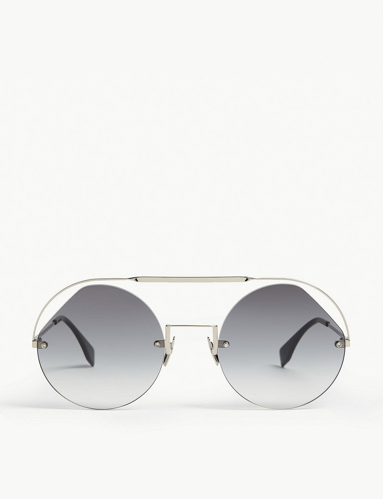 cdd45f4777e0 Fendi Ff0325 s Ribbons   Crystals Round-frame Sunglasses in Metallic ...
