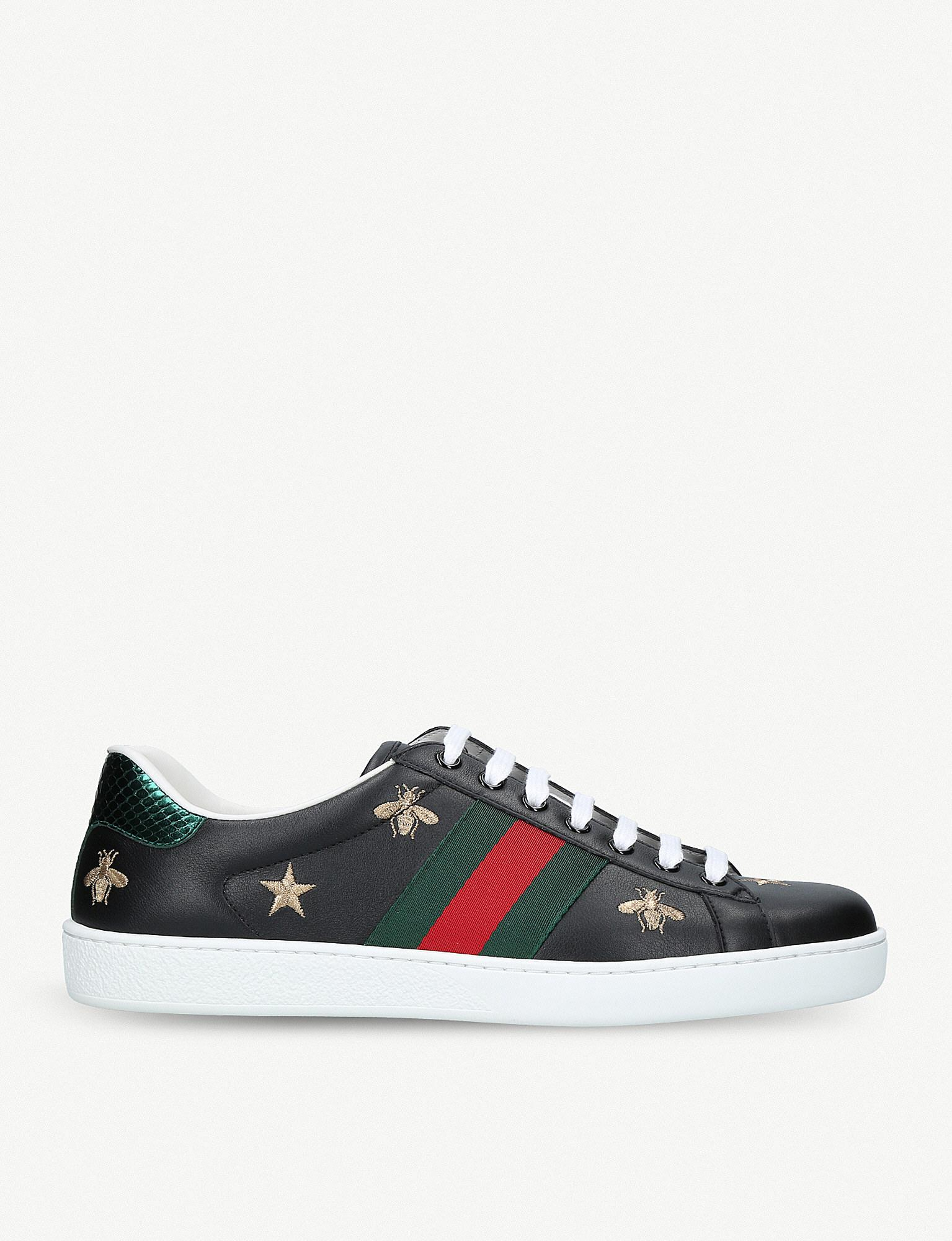 945f3b2fb4b Lyst - Gucci New Ace Bee-embroidered Leather Trainers in Black for Men