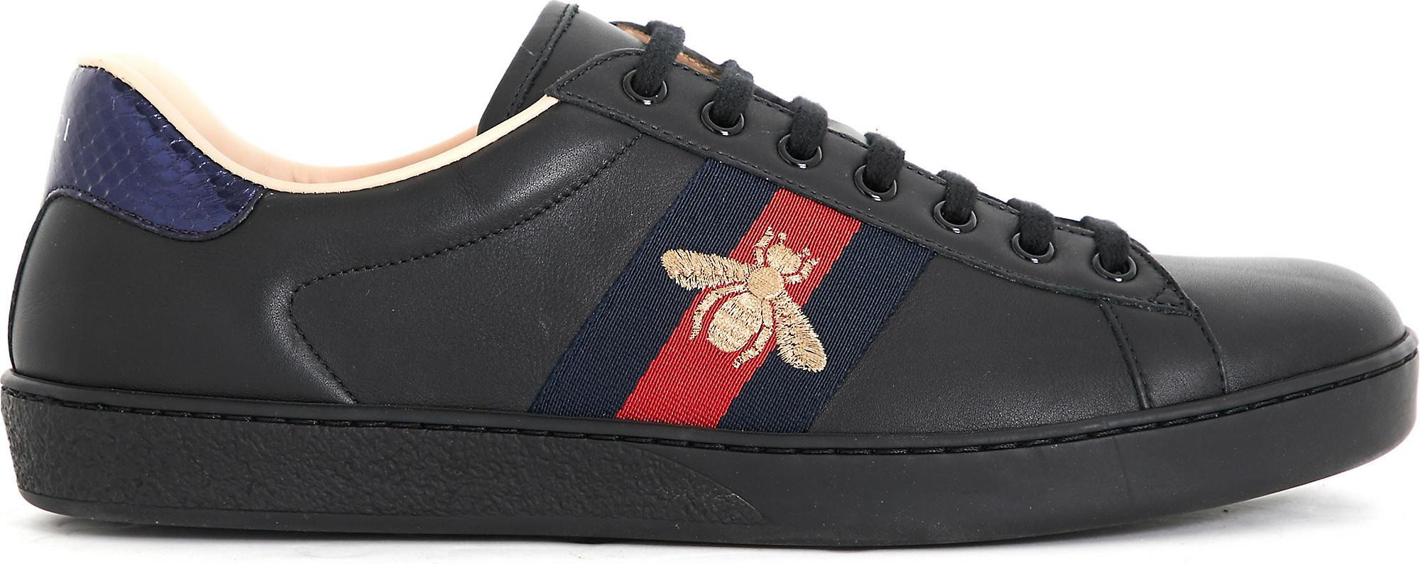 3890fcc0f6b Lyst - Gucci Ace Embroidered Bee Leather Low-top Trainers in Black ...