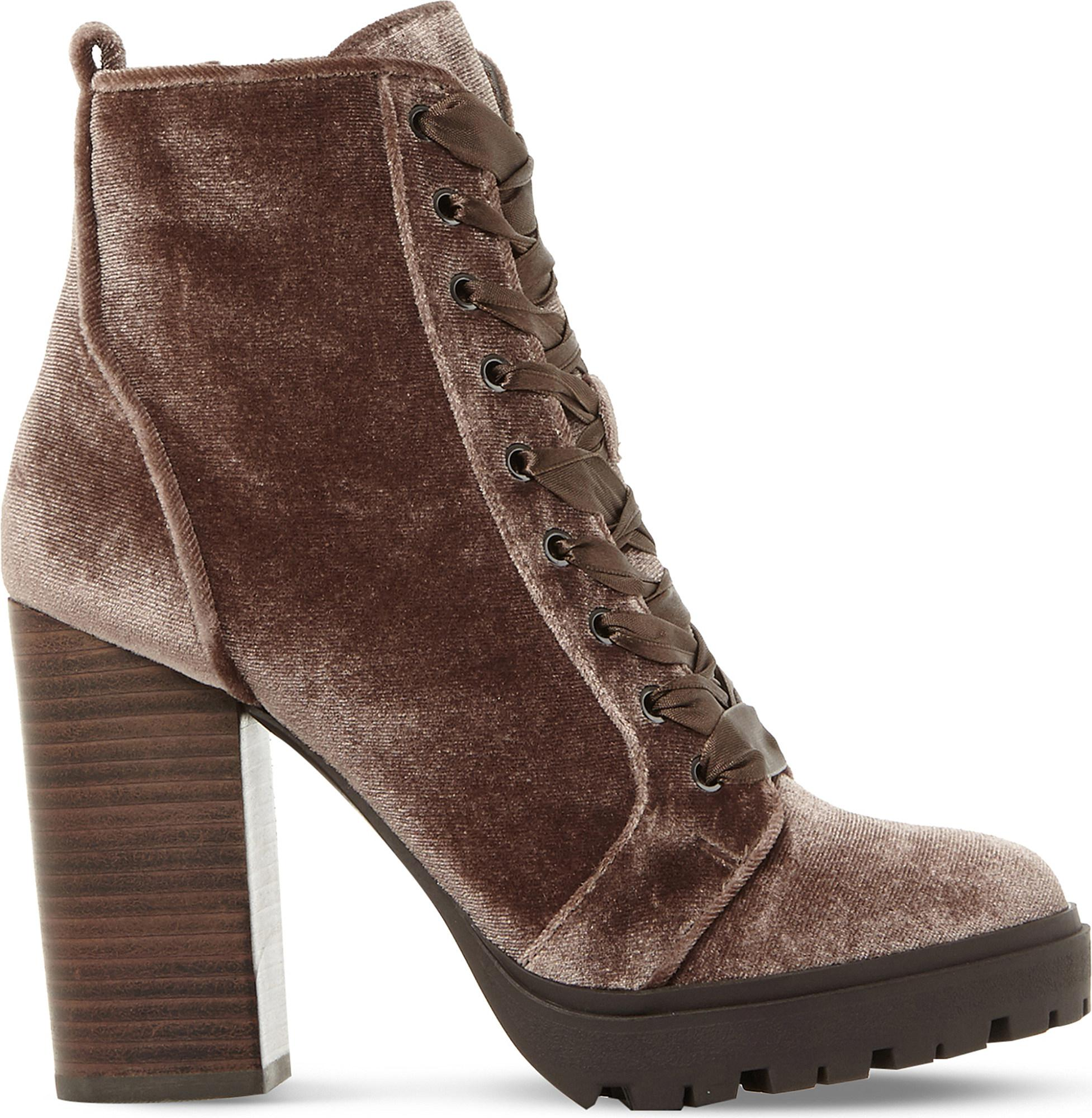 bbed6938a08 Steve Madden Laurie Velvet Heeled Ankle Boots in Brown - Save 40.0 ...