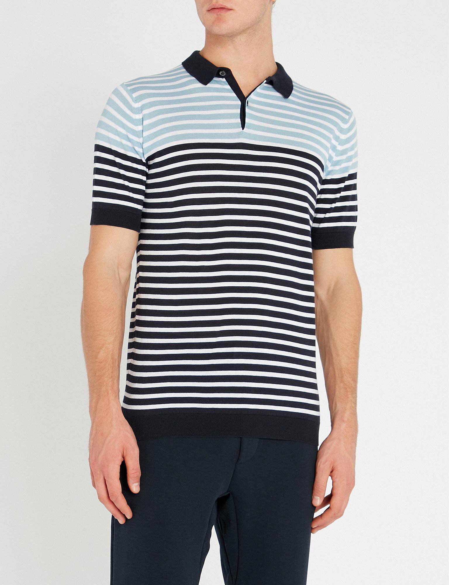 ac1902d15dbd Lyst - John Smedley Eddris Striped Cotton Polo Shirt in Blue for Men