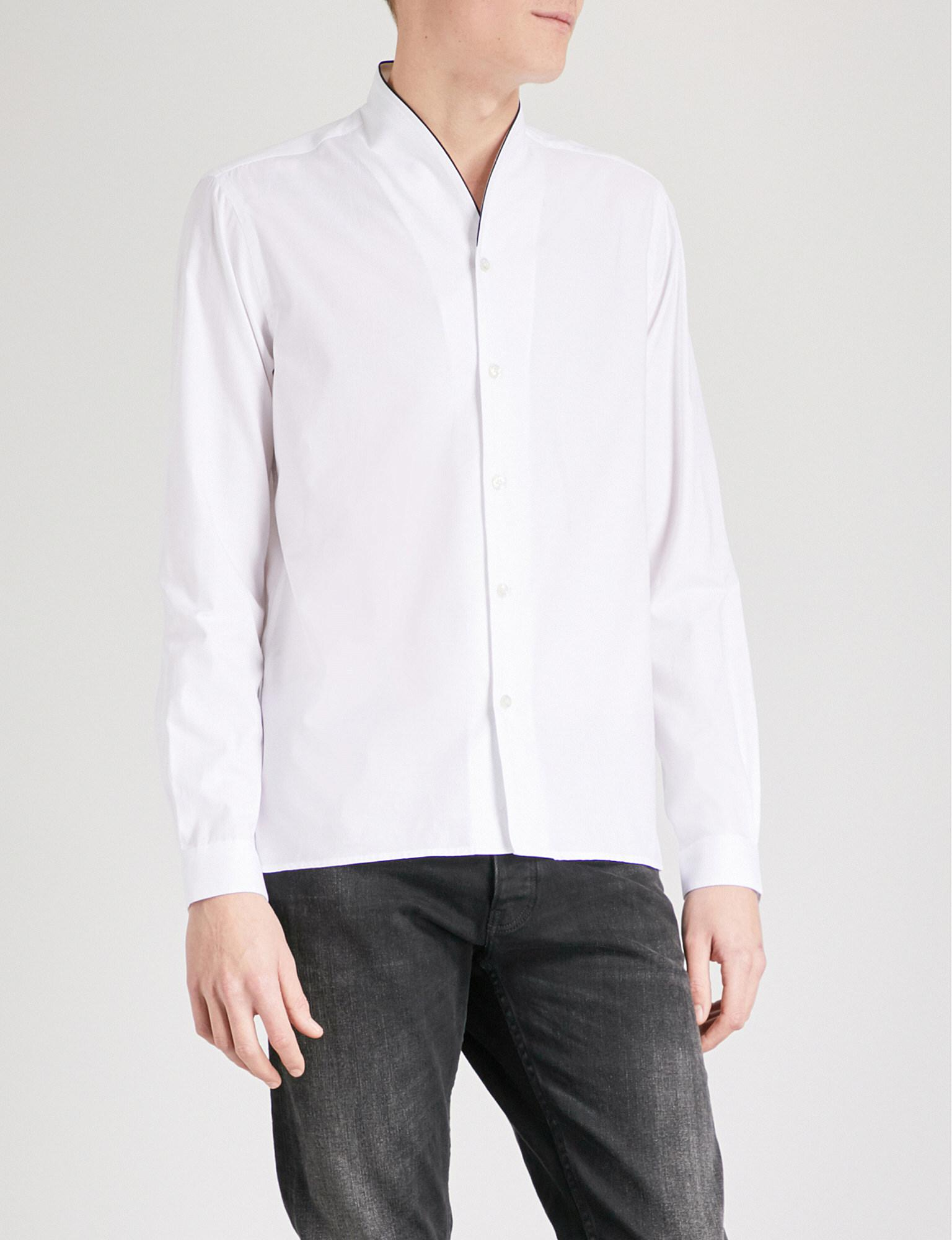 562d11184a The Kooples Shawl-collar Fitted Cotton-piqué Shirt in White for Men ...