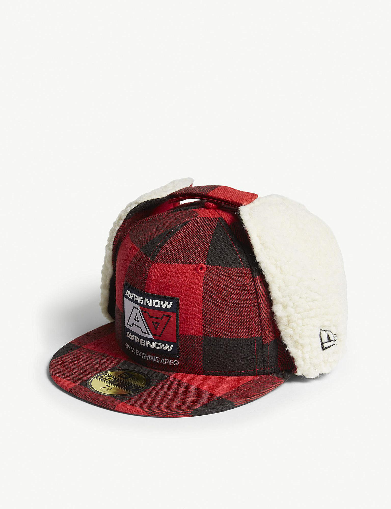 3c62e476b24 Aape - Red Flannel 59fifty Cotton Flap Snapback Cap for Men - Lyst. View  fullscreen